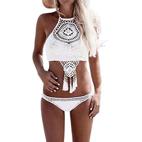 Damen Bikini Set Sonnena Frauen Bohemian Bademode Strick Beachwear Split Badeanzug Handgestrickte Swimwear Dreieck Top Push-up Bandeau+Bikinihose Zweiteilig Strand Fransen Swimsuit (S, Sexy Weiß) (Fransen-dreieck)