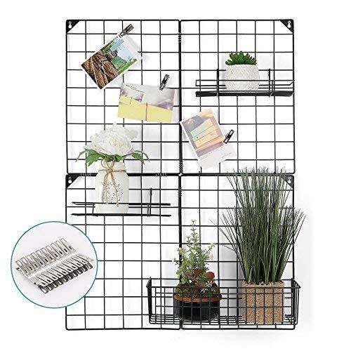 LIANTRAL Wand Grid Panel für Foto Aufhängen Display Wand Dekoration Organizer, Multifunktional Grid Foto Wand Aufbewahrung Organizer, Größe: 83x 60,5cm Schwarz