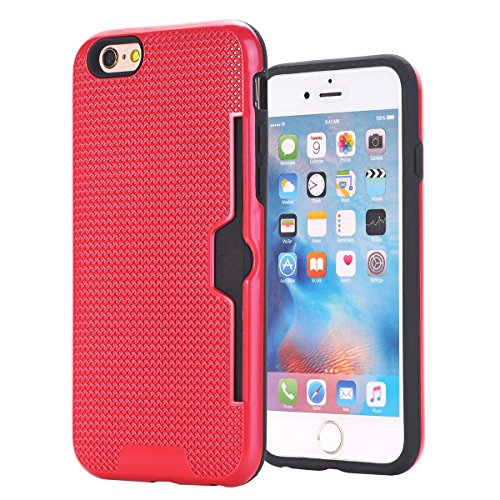 "MOONCASE iPhone 6/iPhone 6s Coque, Dual Layer Hybrid Anti-rayures Protection Housse Card Slots Durable Armure Defender Étuis Case pour iPhone 6/iPhone 6s 4.7"" Or Rose Rouge"