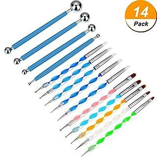 Bememo 14 Stücke Punktierung Werkzeuge Malerei Pinsel Set Nagel Kunst Punktierung Werkzeug für Rock Malerei Präge Kunst Keramik Handwerk