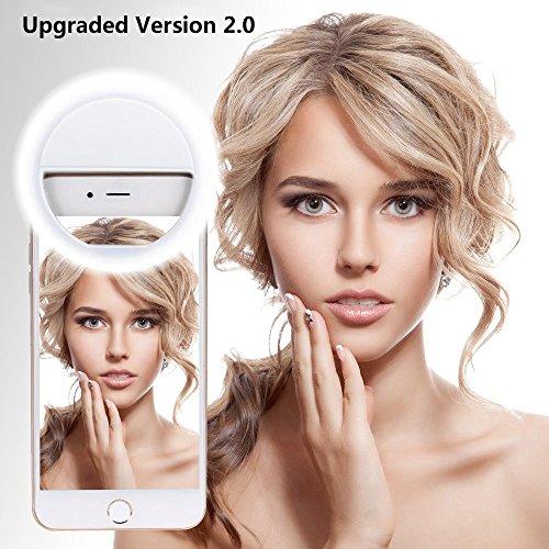 LED Strahler Flash Selfie Kamera Licht Ring Fotolicht mit 3 Ebene Helligkeit für iPhone 7,iphone 6 plus / 6s Plus, Galaxy S6 Edge / S6, Galaxy Note 5, Blackberry, Motorola, Sony Xperia und Andere Smartphones - Weiß ()