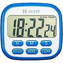 Habor Digital temporizador de cocina, temporizador de 24horas reloj despertador con pantalla LCD de gran tamaño, pitido, fuerte imanes, retráctil soporte