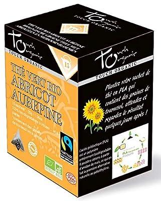 Touch organic Thé Vert Abricot & Aubépine Bio 15 Sachets 30 g - Lot de 3