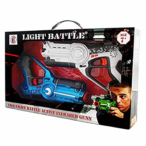 Light Battle Active laser tag toy gun set with 2 laser guns for kids blue and white - display box