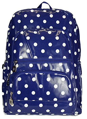 gfm-gloss-finish-pvc-oilcloth-waterproof-backpack-934-polka-ghnl-rucksack-for-school-college-gym-spo