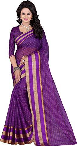 Kiranz Web Store Women's Light Lavender color Cotton silk Saree (Lavender(boarder) Kwsmpb_140)