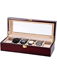 Caja para relojes de madera estuche para relojes y joyeros con 6 compartimentos