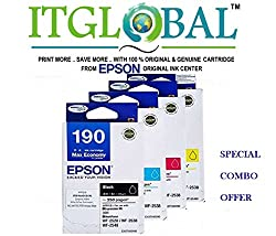 Epson 190 N BK/M/C/Y [Set of 4 Cartridge] -Special ITGLOBAL Combo With Scratch & Win Reward Offer - From ITGLOBAL