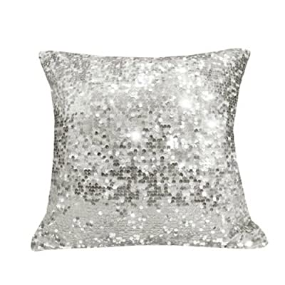 Sparkling Sequins Decorative Pillow Cushion Cover Pillow Case Home Office Sofa Bed Car Throw Pillowcase 18 inch Silver Red Green Black Orange [ 1 pc ]