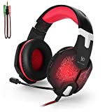 Gaming Headset,Mbylxk Wired Over-Ear-Kopfhörer für PS4 mit Mikrofon Stereo Bass LED-Licht/KOTION EACH G1000(shchwarz+Rote)