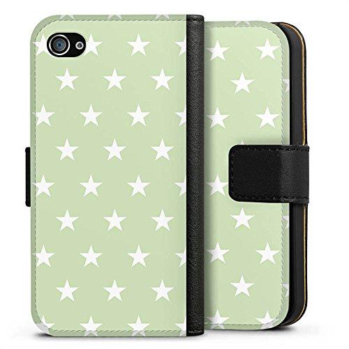 Apple iPhone X Silikon Hülle Case Schutzhülle Sternchen Muster Polka Sideflip Tasche schwarz