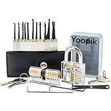 Yoopik Kit de Crochetage Lockpicking Complet de 15 Pièces avec 2 Serrures d'entraînement, Etui et guide Ebook