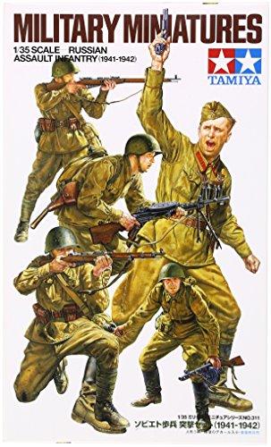 Tamiya 300035311 - WWII Russische Sturmtruppen (5) Figuren-Set, Bausatz 1:35