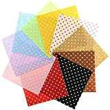 iDream Multicolour Dot Printed Non Woven Felt Fabric for Sewing Decoration Dolls Crafts DIY - 15cm x 15cm (Pack of 10)
