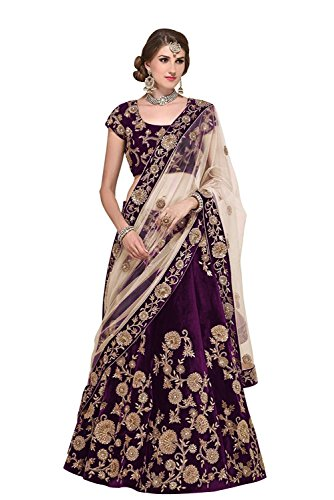Ramdev Emperio Purple Velvet & Embroidered Bridal Lehenga Saree Set With Net Dupatta Set For Women's & Girl's (Festival & Marriage Special Lehenga Saree) (Semi_Stitched)  available at amazon for Rs.5999