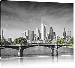 schöne Skyline von Frankfurt am Main schwarz/weiß Format: 100x70 auf Leinwand, XXL riesige Bilder fertig gerahmt mit Keilrahmen, Kunstdruck auf Wandbild mit Rahmen, günstiger als Gemälde oder Ölbild, kein Poster oder Plakat