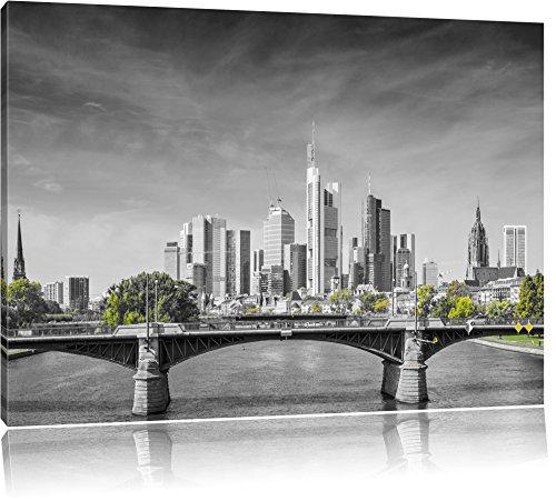 schöne Skyline von Frankfurt am Main schwarz/weiß Format: 120x80 auf Leinwand, XXL riesige Bilder fertig gerahmt mit Keilrahmen, Kunstdruck auf Wandbild mit Rahmen, günstiger als Gemälde oder Ölbild, kein Poster oder Plakat