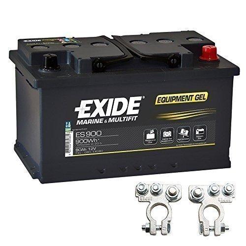 Gel Batterie ES 900 12V 80Ah Akku Exide inkl. Polklemmen Boot Solar Wohnmobil Gel Marine Batterie
