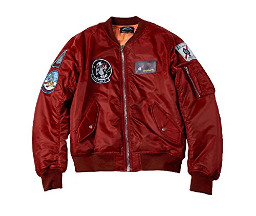 Patch Nylon-jacke (AVIDACE klassische Bomber Jacket Men Nylon gesteppte Maxi-Mantel mit Patches Größe XXL Burgund)