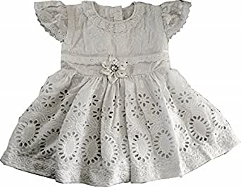 White Hakoba handmade party frock for girls