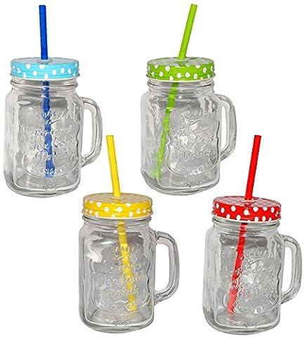 4 Stk _ Henkelbecher - Gläser mit Deckel & Strohhalm - bunte Farben & Punkte - Trinkbecher als