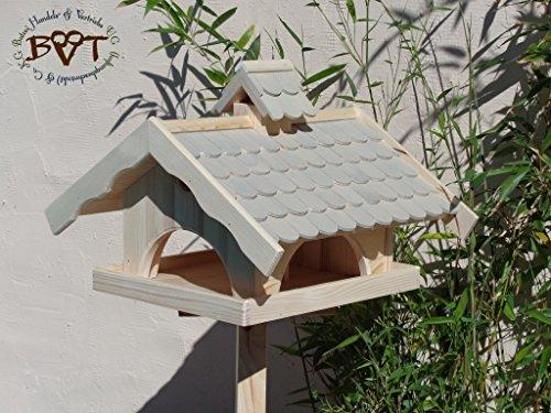 vogelhaus mit ständer,groß,mit Nistkasten + BEL-X-VONI5-MS-grau002 Robustes, stabiles wetterfestes PREMIUM Vogelhaus VOGELFUTTERHAUS + Nistkasten 100% KOMBI MIT NISTHILFE für Vögel KOMPLETT mit Ständer wetterfest lasiert, FUTTERHAUS für Vögel, WINTERFEST – MIT FUTTERSCHACHT Futtervorrat, Vogelfutter-Station Farbe grau hellgrau lichtgrau taupe / natur NEU, MIT TIEFEM WETTERSCHUTZ-DACH für trockenes Futter, Schreinerarbeit aus Vollholz - 3
