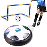 amzdeal Air Football Kit (1 x Hover Ball + 1 Mini Soccer +2 Goal di Calcio +1 Gas Needle),Hover Ball Gioco Indoor & Outdoor (1 Goal)