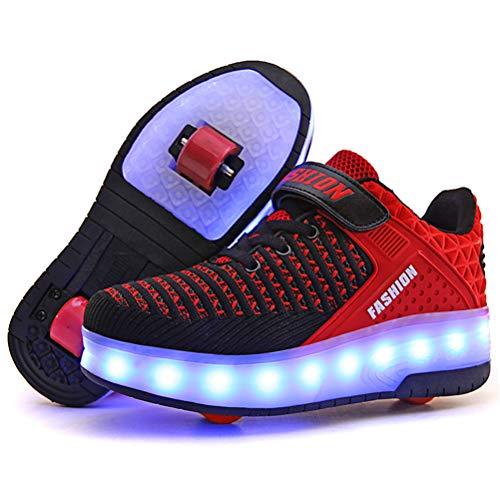 Junge Mädchen Schuhe Kinderschuhe mit Rollen LED Leuchtend Heelys Doppelrad schuheltraleicht Outdoor Schuhe 7 Farbe Farbwechsel Rädern Gymnastik Sneaker