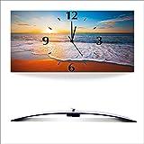 Artland 3D analoge Wand-Funk- oder Quarz-Uhr Digital-Druck auf Alu weiß mit Motiv Alexander Ozerov Sonnenuntergang und das Meer Landschaften Strand Fotografie Blau D8QD