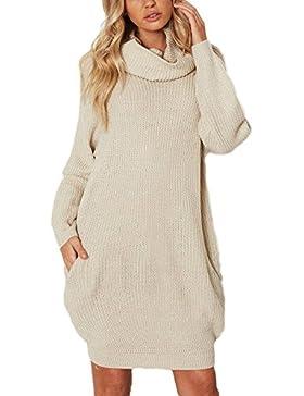 Yonglan Mujer Largo Jerseys Pulóver De Punto Suelto Cuello Alto Mangas Largas Vestido De Suéter Beige Talla única