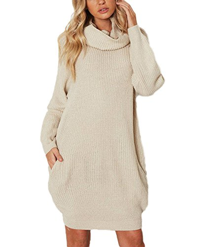 Femme Loose Manches Longues Robe en Tricot Long Col Roulé Chandail Pull Sweater Tops Beige Taille Unique