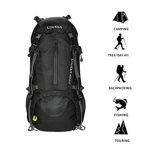Imagen de lixada 45l+5l impermeable  de senderismo con cubierta lluvia, paquete del alpinismo escalada marcha trekking camping deporte al aire libre alternativa