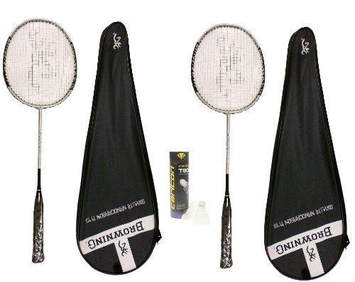 Browning Badmintonschläger Oxylite Ti 75, mit 1 Dose Carlton Federbälle, 2 Stück