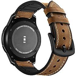 Aottom Compatible pour Bracelet Samsung Gear S3 Frontier,Bracelet Samsung Galaxy Watch 46mm en Cuir Bracelet Montre Samsung Gear S3 Classic Sport de Bande Remplacement de Bracelet-Silicone+Cuir