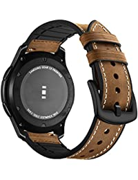 Aottom Gear Frontier GENUINE LEATHER WATCH STRAP FOR SAMSUNG Gear S3 Bracelet et silicone Leather Wrist Band/Bracelet Replacement Samsung Gear S3 Classic Sports Armband Straps for, Men and women