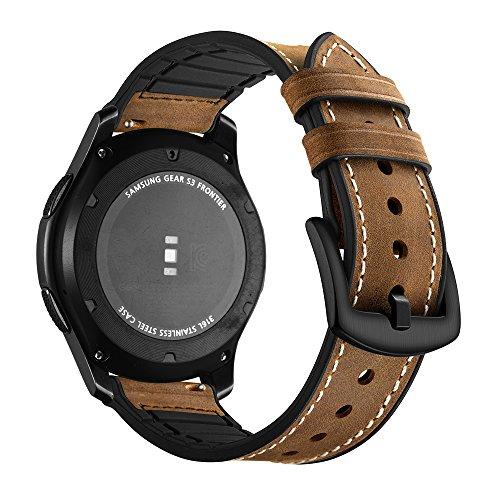 Aottom Kompatibel für Samsung Gear S3 Frontier Armband Samsung Galaxy Watch 46mm Leder,Smartwatch Armband 22mm Herren Lederarmband Galaxy Watch 46mm Armbänder Gear S3 Classic Band- Echte Leder+Silikon