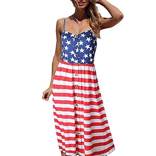 Cooljun 4. Juli Hemden Unabhängigkeitstag Frauen ärmelloses Blumendruck Stars and Stripes Racerback Midi Tank Kleid USA Flagge (Stars Stripes-flagge And)