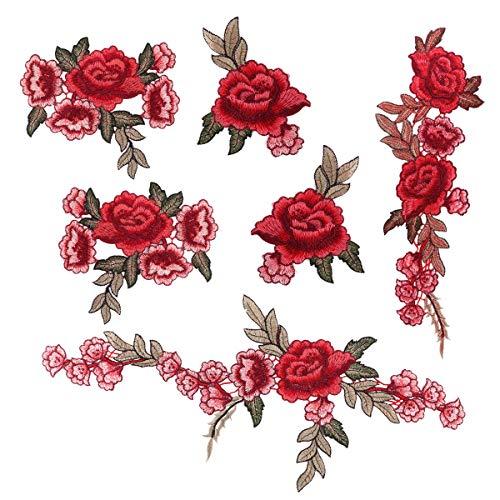 Dsaren 6pcs Toppe Termoadesive Fiori Patches Ricamato Rose Fiore Fai da Te Adesivi Toppe da Cucire per Vestiti Jeans (C)