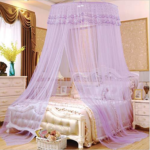 JinYiming Moskitonetz Dome Purple Hanging Type Edelstahlhalterung mit hochdichtem Princess...