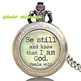 Werden noch und wissen, dass ich bin Gott, Christian Art Anhänger mit Halskette Uhr, tragbar Art Schmuck, Glas Anhänger Halskette Uhr