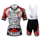 Thriller Rider Sports Damen Love Music Sport & Freizeit MTB Fahrradbekleidung Radtrikot und Trägerhose Anzüge Medium