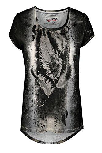 trueprodigy Casual Damen Marken T-Shirt mit Aufdruck, Oberteil cool und stylisch mit Rundhals (kurzarm & Slim Fit), Top für Frauen bedruckt Farbe: Schwarz 1072521-2999 Black