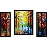SAF Watercolor Set of 3 Modern Art 9201 Painting (35 x 3 x 50 cms)