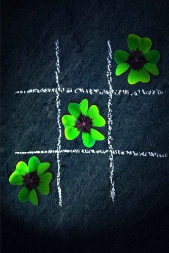 tic-tac-toe-three-in-a-row-green-clover-leaf-journal-150-page-lined-notebook-diary