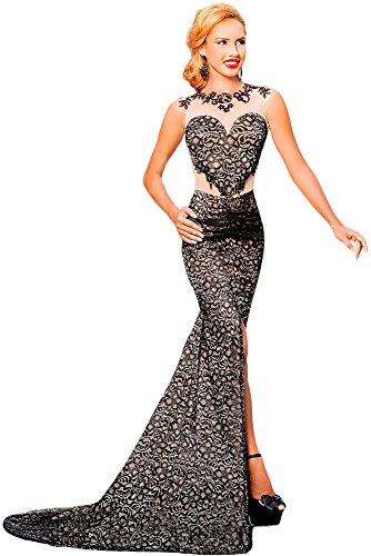 Nuevas señoras negro y desnuda encaje largo vestido de noche Prom Cóctel crucero vestido de fiesta tamaño M UK 12UE