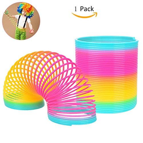 Spielzeug Rainbow Springs Plastic Magic Springs Kinder farbige Federn Spielzeug für Ostern Tag Party Tasche Füllstoffe, bunte Rainbow Circle Spielzeug Federn Stacked Circle Baby Spielzeug 1-3-6 Puzzle frühes Kind Rainbow Spring (10 * 10cm) (Feder-brenner)