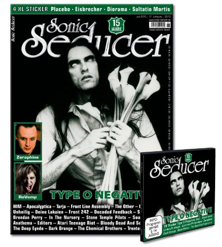 Sonic Seducer 06-10 Limited Edition mit Type O Negative Titelstory & Sticker + 4 XL-Sticker von Placebo, Eisbrecher, Diorama & Saltatio Mortis + CD; Bands: Unheilig, Apocalyptica, HIM u. v. m.