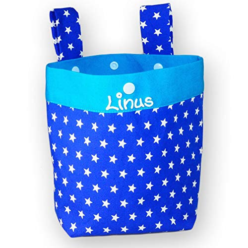 Lenkertasche Sterne mit Namen, Laufrad Fahrrad Kindertasche personalisiert, Kinderfahrradtasche, Laufstalltasche, Rollertasche, Farbe:kobalt
