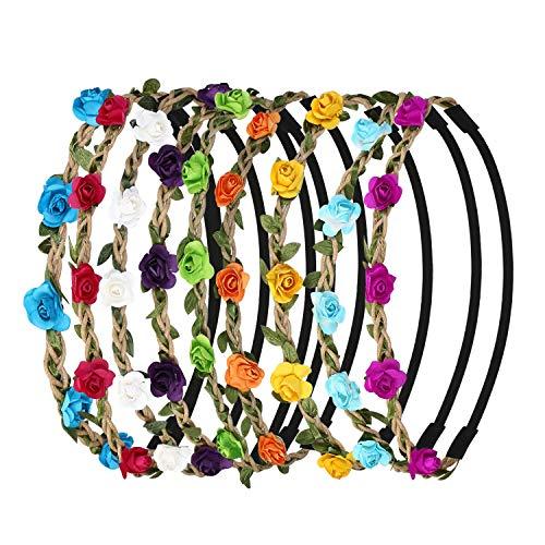 URAQT 9 Stück Haarband mit Blumen Stirnband Haarband Kopfband Blume Haarbänder Kranz-Blumenstirnbänder für Festival Hochzeit und Party -