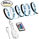 Tiras LED Iluminación 200cm, Hedynshine Tira de LED/LED Tira de TV 5050 SMD RGB para HDTV de 40-60 pulgadas [Clase de eficiencia energética A]